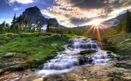 Waterfall Mountain Sunset Wallpapers Pictures Photos Images 1090