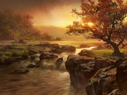 waterfall and sunset landscape wallpaper waterfall and sunset nature 469