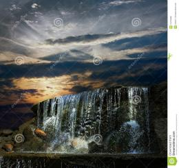 Waterfall At Night At Sunset Royalty Free Stock PhotosImage 1549