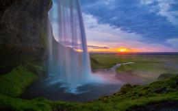 Seljalandsfoss waterfall at sunset wallpaperNature wallpapers 916