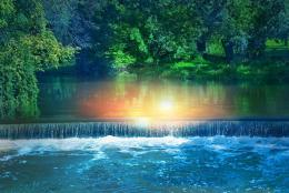 Morning reflections waterfall trees park wallpaper 1780