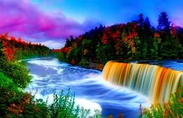 Colors waterfall nature reflection lovely wallpaper 1663