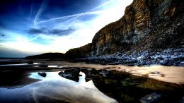 Wonderful rocky beach pools sea cliffs:High Contrast 788