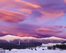 Download Wondrous purple clouds over winter resort hotel wallpaper in 760