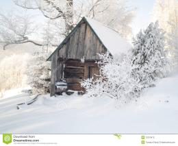 Wooden Cottage Under Snow Stock PhotographyImage: 12313472 927