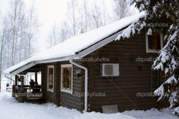Wooden cottage covered by snow — Stock Photo © sommersby #1704228 375