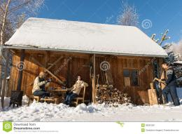 Cozy Wooden Cottage Winter Snow People Outside Stock PhotoImage 1433