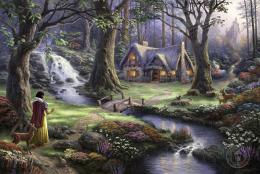 Thomas Kinkade Snow White discovers the cottage art Painting 50% off 1299