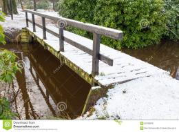Wooden Bridge Covered With Snow In Winter Stock PhotoImage 1408