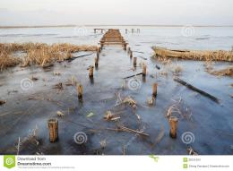Wooden bridge in frozen lake in Winter 1008
