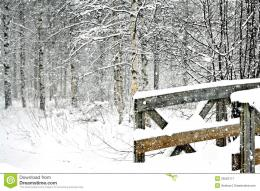 Snowy Winter Scene With A Wooden Bridge Royalty Free Stock Photography 1645