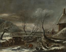 Jan van Kessel II, WINTER LANDSCAPE WITH A WOODEN BRIDGE OVER A CANAL 1055