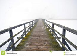 Old Wooden Bridge In Winter Morning Fog Stock PhotoImage: 29531470 398
