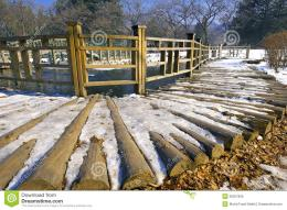 Wooden path of a bridge covered with snow at Nami Island, South Korea 1439