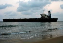 This is a view of the abandoned ship from the sea and the beach 1998