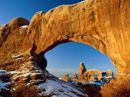 Nature,stone, Arches National Park, Utah, Usa, Winter, Snow wallpapers 1816
