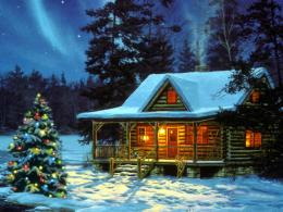 Christmas CabinChristmas Landscapes Wallpaper Image 1560