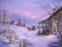 Arriving At The Christmas CabinChristmas Landscapes Wallpaper Image 1351