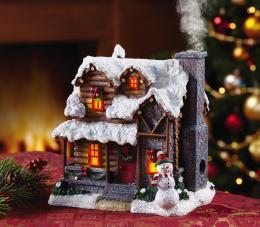 Lighted Smoking Country Christmas Village Cabin Incense Burner 1940