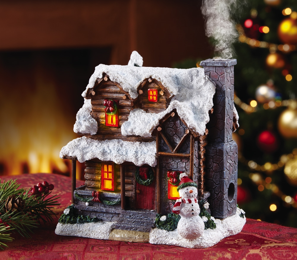11 lighted smoking country christmas village cabin incense for Country cabin christmas