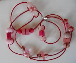 Pink and fuchsia double wrap necklace by NHCreativeJewelry on Etsy 1792