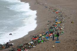 Tonnes of rubbish washed up on Chesil BeachFrom Dorset Echo 1320