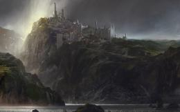 FantasyCity Landscape Sea Rock Castle Dark Fantasy Wallpaper 1624