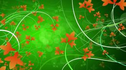 Green fantasy abstract art leaves curves wallpaper 261