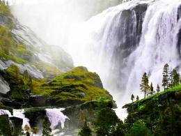 Download Majestic waterfall in sunshine wallpaper in Nature wallpapers 839