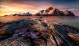 Wallpaper frozen sunrise, ice, rocks, stones wallpapers nature 520