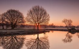sunset river nature night frost trees landscape sunrise fog reflection 1751