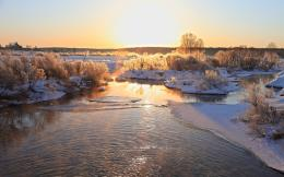 Winter Frost Nature river sunrise sunset sky wallpaper | 1920x1200 1973