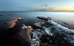 Image: Siberian River Ice Rock Sunset wallpapers and stock photos 1479