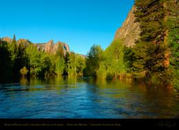 Rocks and Bridalveil Fall from the log in the Merced River at Valley 874