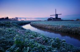 sunrise trees field frost mill blue lilac sky water rivers wallpaper 614