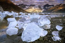 Wallpaper USA, mountains, ice, Alaska, Sunrise in Glacier Bay National 677