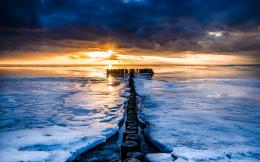 scenery sea river water ocean ice winter sunset sunrise wallpaper 1104