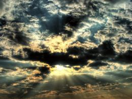 Download Sunlight through the black clouds wallpaper in Nature 1339