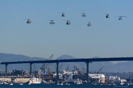 Helicopter squadron flying over San Diego bay during the Centennial of 1677