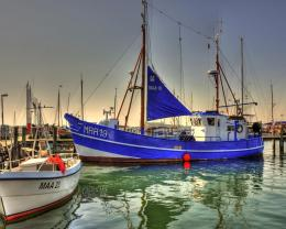 Beautiful Sailboat Moored At Looming Dusk Hdr 1064