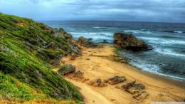 Lovely hidden beach hdr tocks sea dunes HD Wallpaper 1720