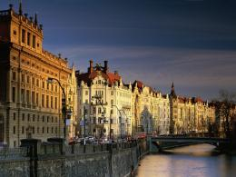 Prague, Czech Republic, Architecture of houses on riverside 1144