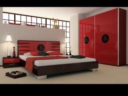 Hulsta uses red accessories like the carpet, pillows, blanket to 1430