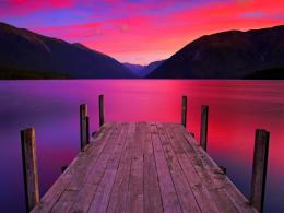 Download Jetty on lake in red sunset wallpaper in Nature wallpapers 1517