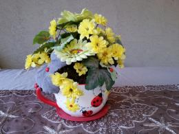 Ladybug Cup with yellow flowers some flowers have by Houseofstyles 1296
