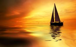 Download Sunset Boat On The Sea Wallpaper | Free Wallpapers 1569