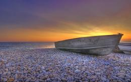 beach boat pebbles landscape Wallpaper, Nature Landscape Wallpaper 1913