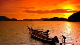 Boat on beach sunset picture nature 1280x720 1222