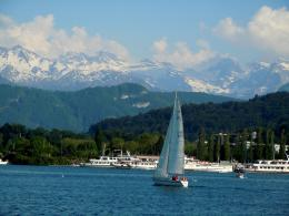 Sailing on Lake Lucerne with the Alps in the distance 802