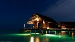 Download 1366x768 Maldives Night Bungalow Wallpaper 1969
